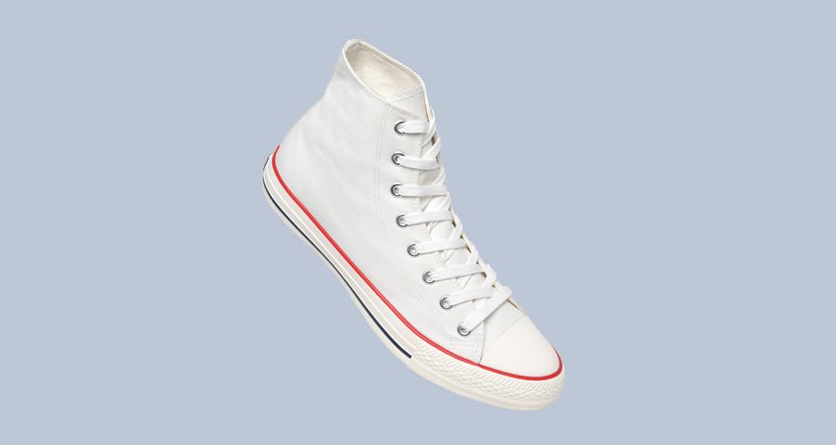 Sneaker für Firmen Simple High in weiß Canvasschuhe digital bedrucken